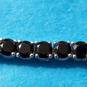 Bracelet 925 Silver Round Simulated Onyx CZ